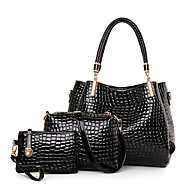 Women Bags All Seasons Patent Leather Bag Set with for Casual Black Dark Blue Wine
