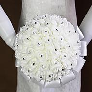 Bryllupsblomster Rund Roser Buketter Bryllup Sateng Skum Rhinstein 7.87 tommer (ca. 20cm)
