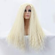 Naisten Synteettiset peruukit Lace Front Pitkä Suora Yaki Bleach Blonde Luonnollinen hiusviiva Sivuosa Luonnollinen peruukki Halloween