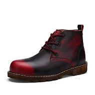 Herre sko Lær Vår Høst Trendy støvler Støvler Snøring Til Avslappet Svart Mørkeblå Lysebrun Burgunder