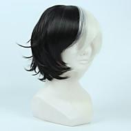 Γυναικείο Συνθετικές Περούκες Χωρίς κάλυμμα Κοντό Ίσια Μαύρο/Λευκό Περούκα άνιμε Απόκριες Περούκα Καρναβάλι περούκα φορεσιά περούκες