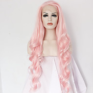 Naisten Synteettiset peruukit Lace Front Pitkä Runsaat laineet Pinkki Luonnollinen hiusviiva Keskijakaus Luonnollinen peruukki Halloween