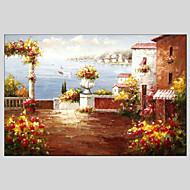 Pintados à mão Paisagem / Paisagens Abstratas Pinturas Óleo Prints +,Clássico / Mediterrêneo 1 Painel Tela Hang-painted pintura a óleoFor