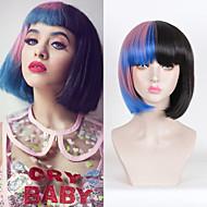 Damen Synthetische Perücken Kappenlos Glatt Schwarz Gefärbte Haarspitzen (Ombré Hair) Natürliche Perücke Kostüm Perücken