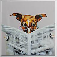 מצויר ביד מופשט / בעלי חיים ציורי שמן,מודרני / קלאסי פנל אחד בד ציור שמן צבוע-Hang For קישוט הבית