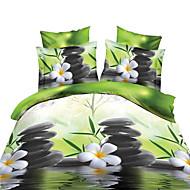 bedtoppings couette couverture couette couette 4pcs définir la taille de reine plat drap taie 3d motif aléatoire imprime tissu microfibre