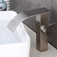 Moderni Art Deco/Retro Integroitu Vesiputous with  Keraaminen venttiili Yksi kahva yksi reikä for  Nickel Brushed , Kylpyhuone Sink hana