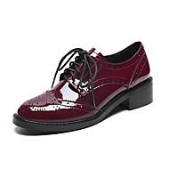 Oxfordské-Kůže mikrovlákno-Platformy-Dámské-Černá Burgundská fialová-Běžné-Kačenka Platformy Block Heel