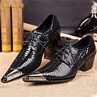 Masculino sapatos Pele Napa Primavera Verão Outono Inverno Sapatos formais Oxfords Para Casual Festas & Noite Preto