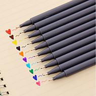 젤 펜 펜 워터 컬러 펜 펜,플라스틱 통 레드 블랙 블루 옐로우 퍼플 오렌지 그린 잉크 색상 For 학용품 사무용품 팩