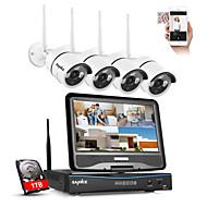 sannce® 2,4g 10.1 LCD 4 canale HD 720p wireless NVR 1500tvl în aer liber / camere IR tăiat IP cu 1TB