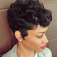 Mulher Perucas de cabelo capless do cabelo humano Preto jet Curto Ondulado Natural Corte Pixie Corte em Camadas Com Franjas Peruca Afro
