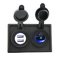 12V / 24V Zigarettenanzünder-Steckdose und 4.2a Dual USB-Anschluss mit Gehäusehalter Verkleidung für Autoboots LKW rv geführt
