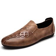 Miehet kengät PU Kevät Kesä Syksy Talvi Comfort Mokkasiinit Kävely Neulottu pitsi Käyttötarkoitus Kausaliteetti Musta Harmaa Khaki