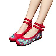 Feminino-Oxfords-Conforto Inovador Sapatos bordados-Rasteiro-Preto Bege Vermelho Azul-Lona-Ar-Livre Casual Para Esporte