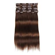 9pcs / set deluxe 120g # 4 keskiruskeaan Chocalate ruskeat leikkeen hiusten pidennykset 16inch 20inch 100% suorat hiuksista