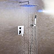 Contemporain Montage mural LED Douche pluie Douchette inclue with  Soupape céramique Deux poignées trois trous for  Chrome , Robinet de