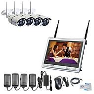 strongshine® 11 인치 스크린이있는 4ch h.264 무선 nvr 960p 방수 적외선 IP 카메라 감시 시스템 키트