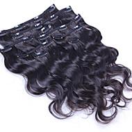 100% elimistön aalto leikkeen ihmisen hiusten pidennykset Brasilian hiukset leikkeen ojennuksessa 8 kpl / setti 100g