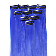 Neitsi 10pcs 18inch Colored Highlight Synthetic Clip on in Hair Extensions #F10 Blue