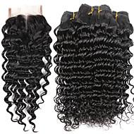 Couleur naturelle cheveux teigne texture brésilienne vague profonde 6 mois 5 morceaux de cheveux tissés