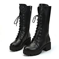 Bootsit-Tasapohja-Naiset-PU-Musta-Rento-Comfort