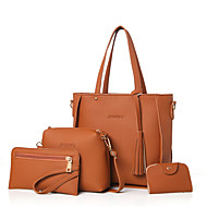 Women Bags All Seasons PU Bag Set with for Casual Outdoor Black Red Blushing Pink Gray Brown