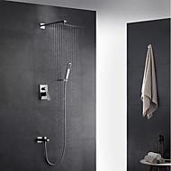 Moderne Art Deco/Retro Vægmonteret Regndusj Hånddusj Inkludert Træk-udsprøjte with  Messing Ventil Enkelt håndtak To Huller for