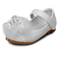 Para Meninas Rasos Courino Primavera Outono Pérolas Sintéticas Velcro Salto Baixo Branco Rosa claro Rasteiro