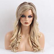 Mulher Perucas de cabelo capless do cabelo humano Amarelo Longo Ondulado Corte em Camadas Com Franjas Parte lateral