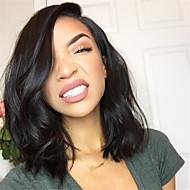 Naisten Aitohiusperuukit verkolla Aidot hiukset Full Lace Liimaton kokoverkko 130% Tiheys Laineikas Peruukki Musta Lyhyt Keskikokoinen