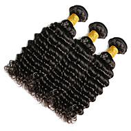 Włosy naturalne Włosy indyjskie Człowieka splotów włosów Głębokie fale Przedłużanie włosów 1 sztuka Czarny