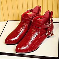 Feminino Sapatos Couro Envernizado Primavera Conforto Rasos Com Para Casual Preto Vermelho