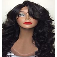 Femme Perruque Naturelles Dentelle Cheveux humains Full Lace Sans Colle Full Lace 130% Densité Ondulation naturelle Perruque Noir Court