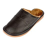 Αντρικό Παντόφλες & flip-flops Ανατομικό Δερμάτινο Φθινόπωρο Χειμώνας Causal Ανατομικό Διαφορετικά Υφάσματα Επίπεδο Τακούνι Μαύρο Καφέ