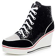 Damen Sneaker Modische Stiefel Paillette Wildleder Herbst Winter Normal Paillette Schnürsenkel Keilabsatz Plateau Schwarz Silber Rosa7,5
