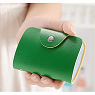 Mulher Porta Cartão Couro Ecológico Todas as Estações zíper Verde Vermelho Marron