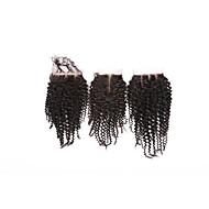 Ei sekaisin luokka 8a luonnollinen musta kinky kihara brasilialainen hiuslakkaus vapaa / keskimmäinen / 3 osa 4 * 4 swiss pitsi sulkimet