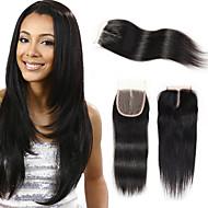 Brasilian suora aalto 4 * 4 Sveitsin pitsi sulkeminen remy ihmisen hiukset 3 tyyppinen tyyli kauneus Lady väri 1b