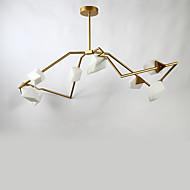 Oito cabeças pós metal moderno com lâmpada de lustre de pêssego de vidro para o quarto / sala de comedor / bar / café decorar lâmpada