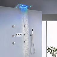Moderne LED Système de douche Vaporisateur latéral Douche pluie Douchette inclue Lumière with  Soupape céramique Trois poignées neuf trous