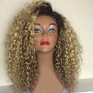 Naisten Aitohiusperuukit verkolla Aidot hiukset Full Lace Liimaton kokoverkko 130% Tiheys perverssi Peruukki Mansikka Blonde / Bleach