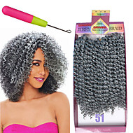 curly punokset Virkkaus Kihara Jerry curl Synteettinen tukkaMedium Auburn Black / Medium Auburn Musta / Burgundy Keskiruskea Grey