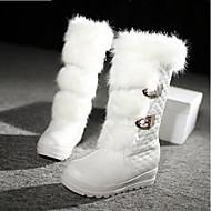 Naiset Kengät PU Talvi Comfort Muotisaappaat Bootsit Käyttötarkoitus Kausaliteetti Valkoinen Musta