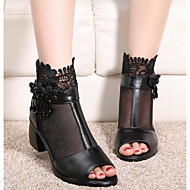 Feminino Sapatos Couro Ecológico Verão Conforto Plataforma Básica Sandálias Para Casual Preto Azul