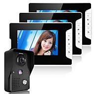 Mountainone 7 polegadas video porteiro telefone campainha sistema de interfone kit 1 câmera 2 monitores visão noturna