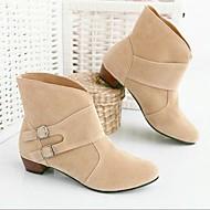 Feminino Sapatos Couro Ecológico Inverno Botas da Moda Botas Rasteiro Botas Curtas / Ankle Com Para Casual Preto Bege Marron Vermelho