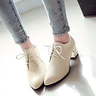 Ženske Oksfordice Udobne cipele Lakirana koža Jesen Zima Kauzalni Kockasta potpetica Crn Bež Crvena 5 cm - 7 cm