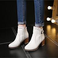 Feminino Sapatos Couro Ecológico Outono Inverno Coturnos Botas Salto Grosso Botas Curtas / Ankle Com Para Casual Branco Preto Bege Rosa