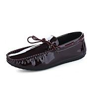 남성 로퍼&슬립-온 조명 신발 다이빙 신발 PU 봄 여름 가을 겨울 캐쥬얼 스플리트 조인트 플랫 블랙 버건디 플랫